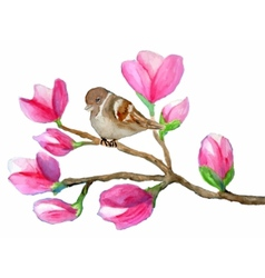 watercolor painting of bird on branch with vector image