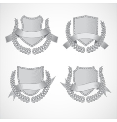 Design elements set of shields with laurel vector