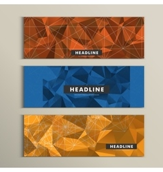 Set of 3 banners with contemporary style polygonal vector