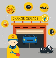 Car mechanic and garage service vector
