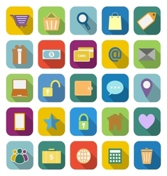 Ecommerce coloe icons with long shadow vector image