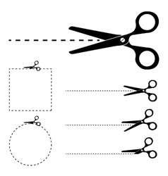 Scissors silhouette and cut lines set vector