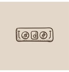 Dj console sketch icon vector