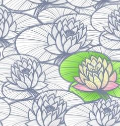 Ink hand drawn lotus coloring pattern vector image