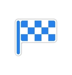Paper sticker on white background finish flag vector
