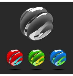 Set of Abstract Globe Logo Elements vector image