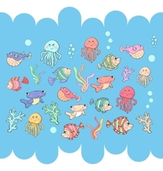 Sea inhabitants vector