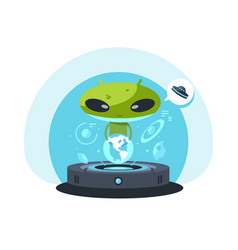 alienand the planet earth vector image