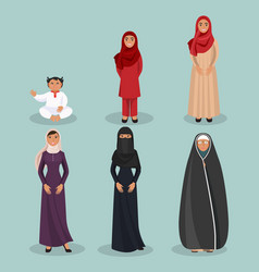 Arabic women generations from child to elderly vector