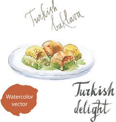 Baklava on a plate watercolor vector