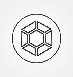diamond outline symbol dark on white background vector image