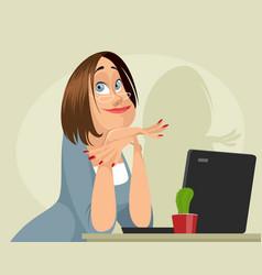 dreamy female programmer vector image