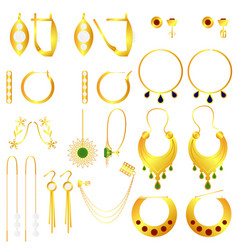 earring clasps types golden vector image