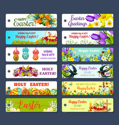 Easter greeting tag and egg hunt gift label set vector