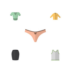 Flat icon dress set of casual singlet lingerie vector