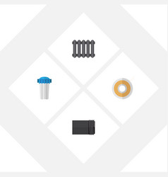 flat icon plumbing set of tube water filter roll vector image vector image