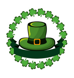 green hat accessory st patrick with clovers and vector image