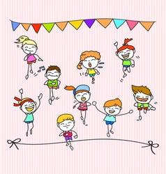 hand drawing cartoon happy kids running marathon vector image vector image