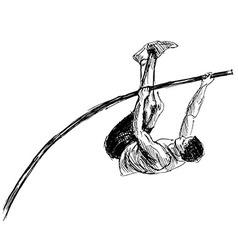 Hand sketch vaulter vector