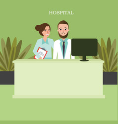 Hospital reception front desk customer services vector