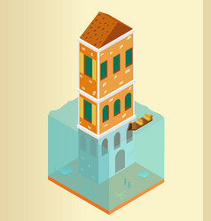 Isometric flooded building and gondola in venice vector