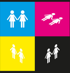 Lesbian family sign white icon with vector