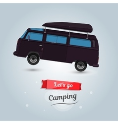 Lets go camping tourists travel by car funny vector