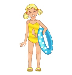 Little girl with a swimming circle vector image
