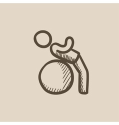 Man doing exercises lying on gym ball sketch icon vector