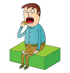 Man eating cookies vector image