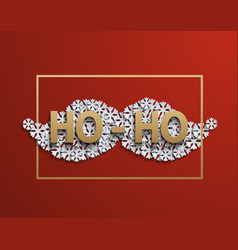 Modern mustache santa icon on red vector