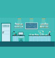 Science lab interior or laboratory room vector
