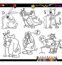 Singing animals set for coloring book vector
