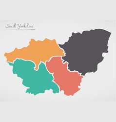 South yorkshire england map with states and vector