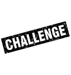 Square grunge black challenge stamp vector