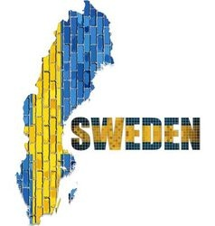 Sweden map on a brick wall vector image
