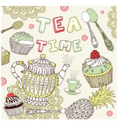 tea time set vector image vector image