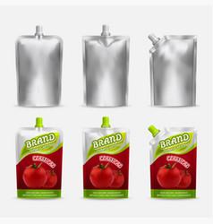 Tomato ketchup pack mockup set realistic vector