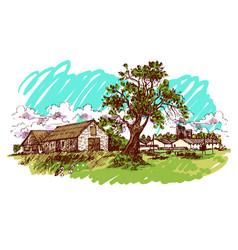 village house vector image