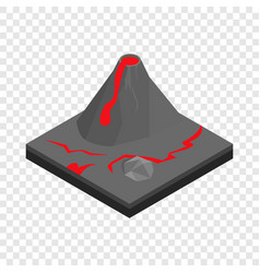 volcano landscape isometric icon vector image vector image