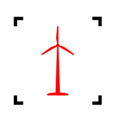 Wind turbine logo or sign red icon inside vector