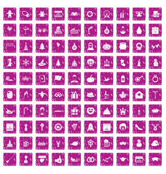 100 holidays icons set grunge pink vector image vector image