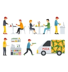 Pizzeria icons set people in a flat interior vector