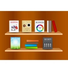 Bookshelf background vector