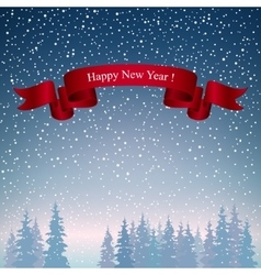 Happy New Year Landscape in Dark Blue Shades vector image