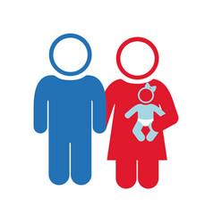 white background of pictogram with couple and baby vector image