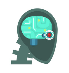 Android head cut through with electronic eye and vector