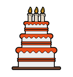 Cake with wife and groom topper wedding related vector