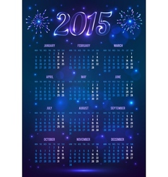 Dark blue 2015 year european calendar in magic vector