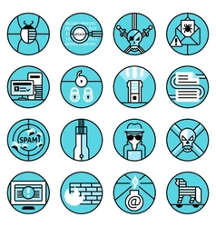 Hacker icons set blue line vector